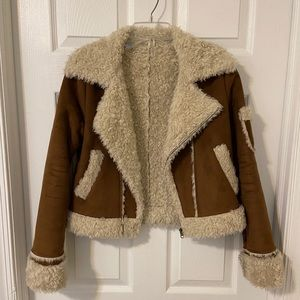 70's Vintage Shearling Cropped Coat, XS